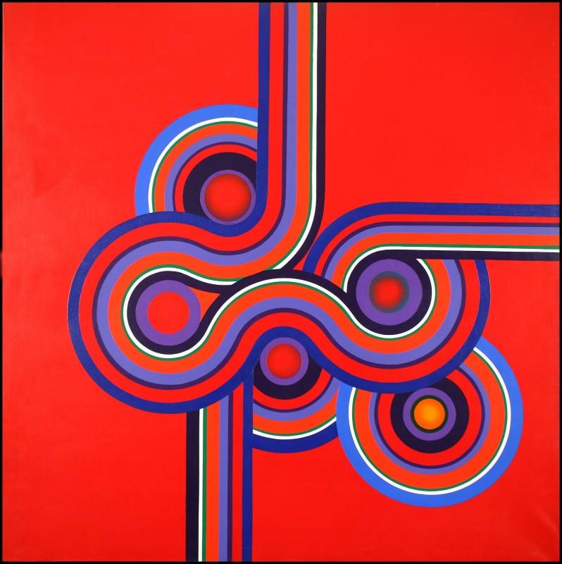 HOMENAJE A KŌRIN. SERIE II. N°11 (OLAS ROJAS EN MATSUSHIMA), 1976 Acrlylic on Canvas 63 × 63 in 160 × 160 cm. Museo de Arte Contemporáneo de Buenos Aires (Argentina)